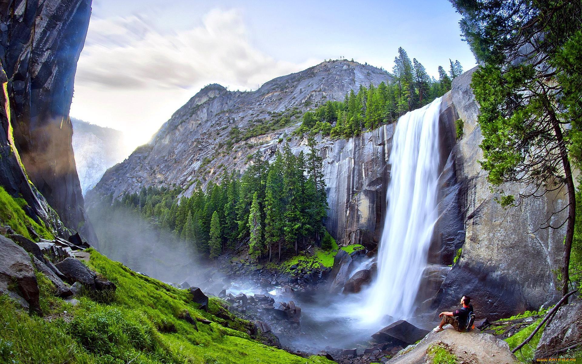 Картинки горы и водопад